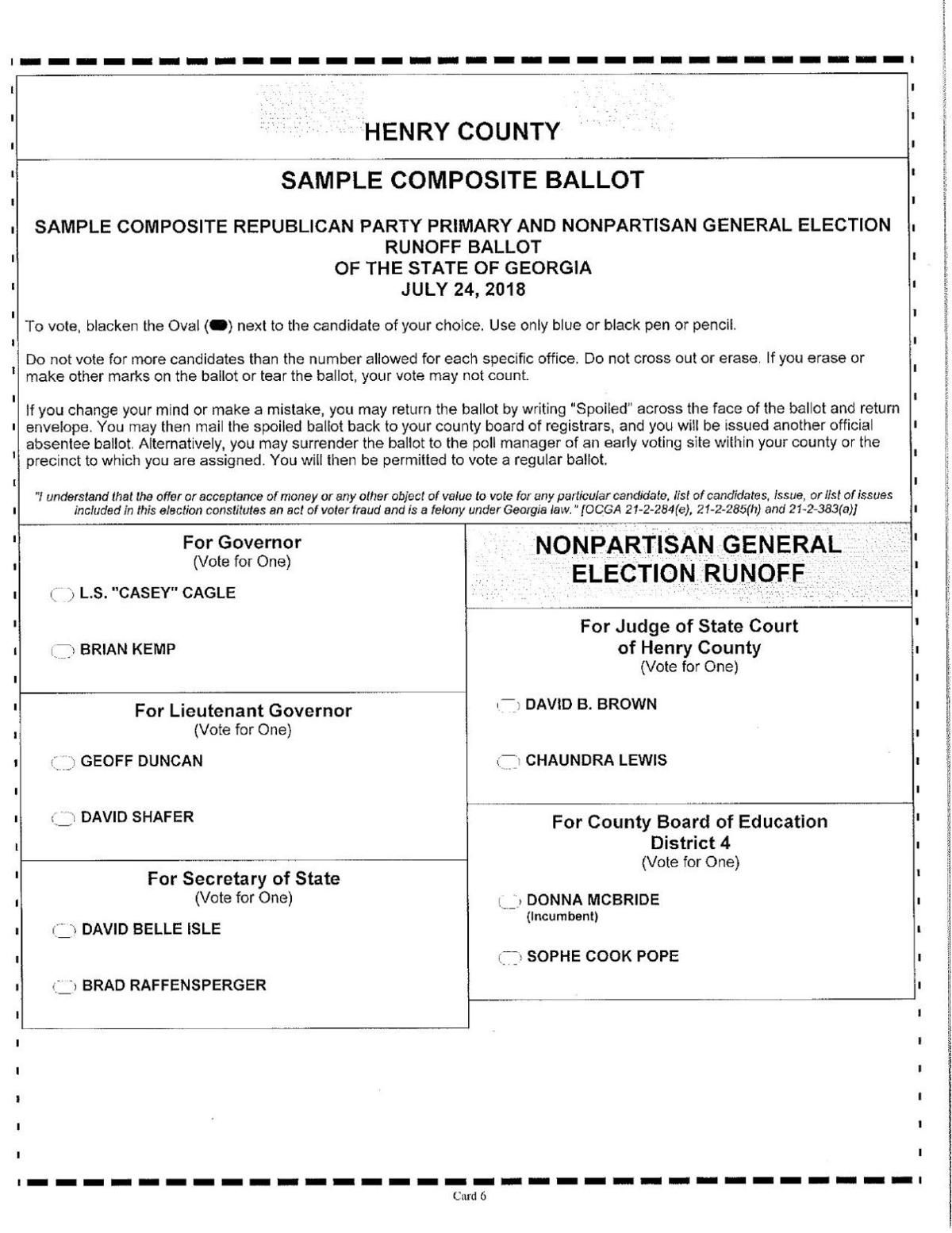 Henry County runoff sample ballots | NeighborNewsOnline ...