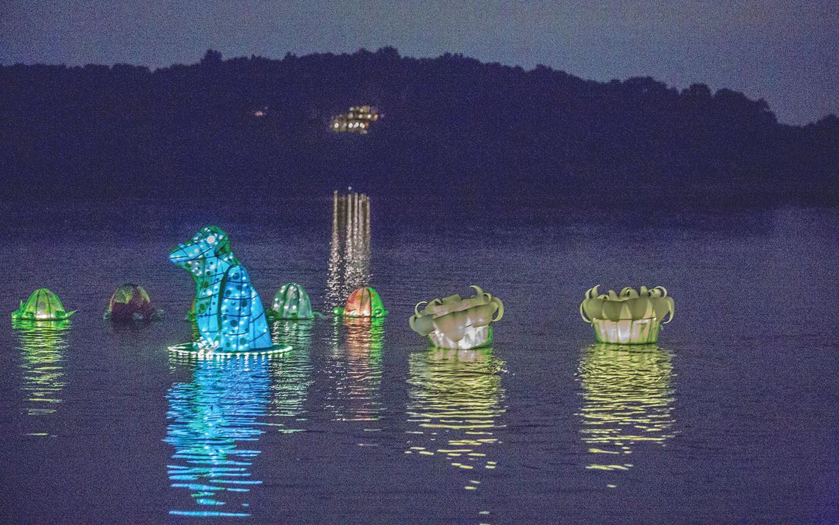 Full Lantern Parade 4 lanterns on water