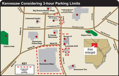 Kennesaw approves downtown parking changes | News | mdjonline.com on forsyth map, dalton map, sandy springs map, cedartown map, macon map, acworth map, montgomery map, elberton map, suwanee map, tullahoma map, cartersville map, austell map, roswell map, douglasville map, lithonia map, logansport map, hamilton mill map, lawrenceville map, alpharetta map, dunwoody map,