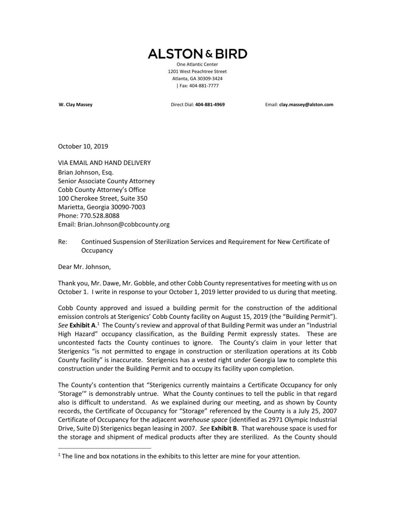Sterigenics Oct. 10 letter to Cobb County