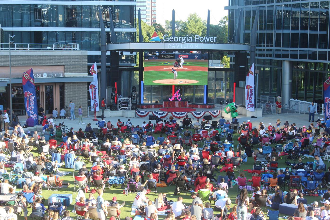 Braves watch party 10/8/21 (aerial)