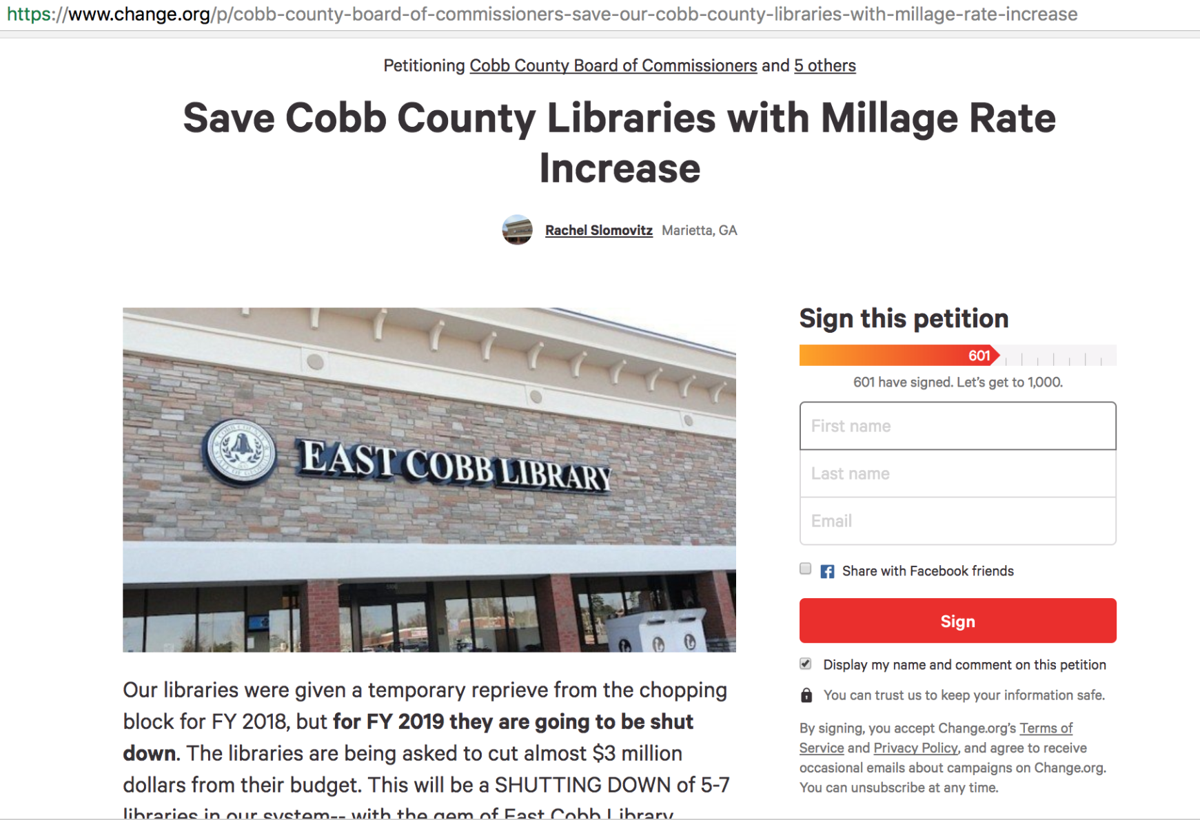 petition seeks tax increase to keep cobb libraries open news