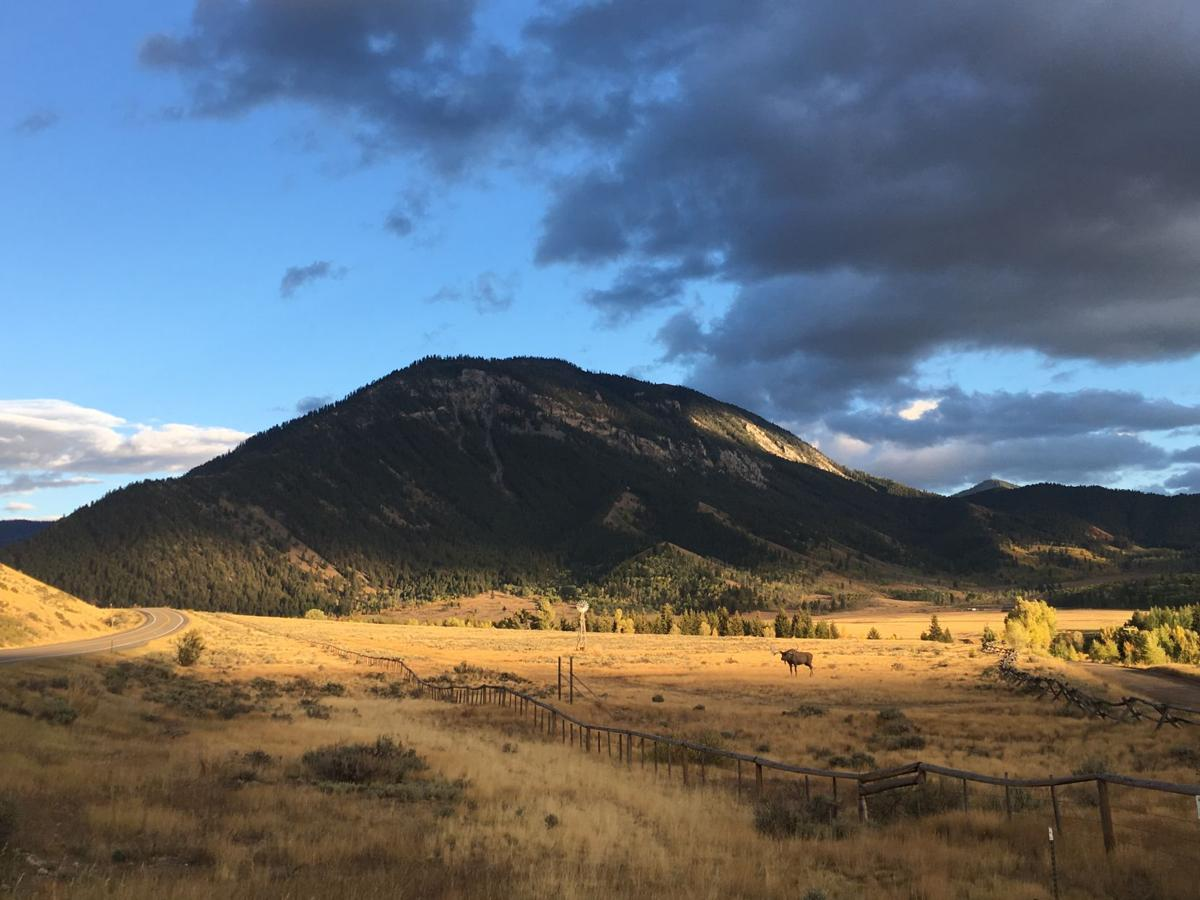 A ranch at sunset near Jackson Hole, Wyoming