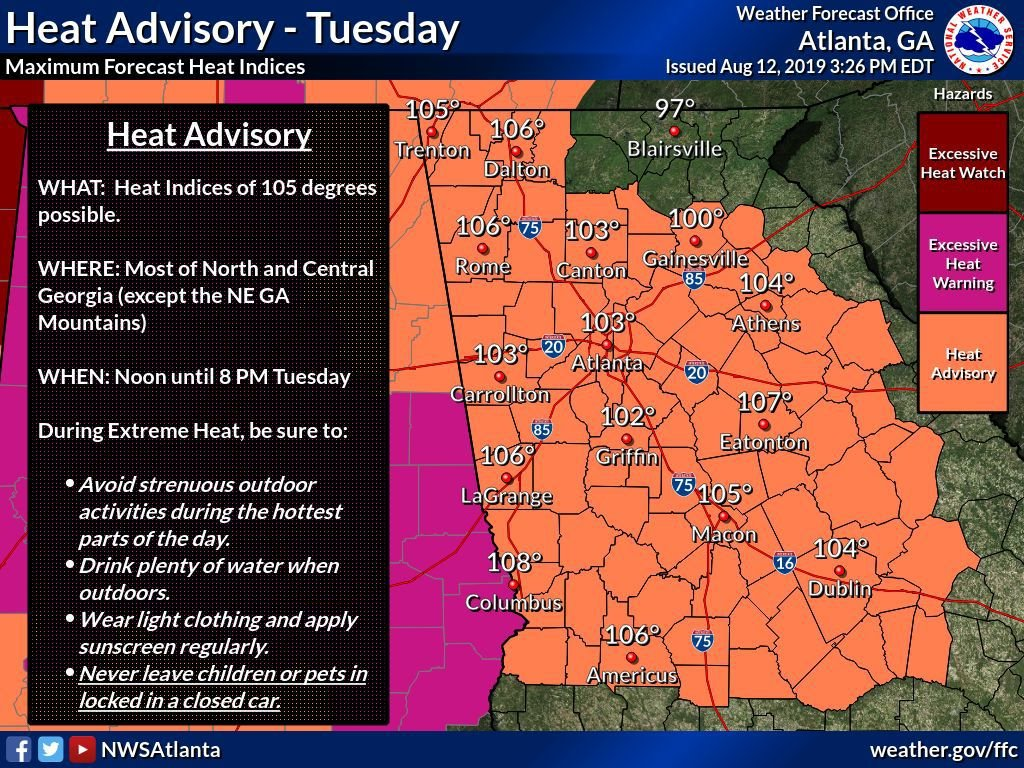 Heat Advisory Wednes