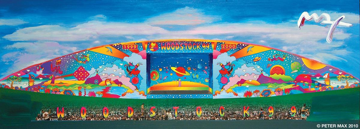 "061219_MNS_Peter_Max_002 ""Woodstock '99"" stage banner art"