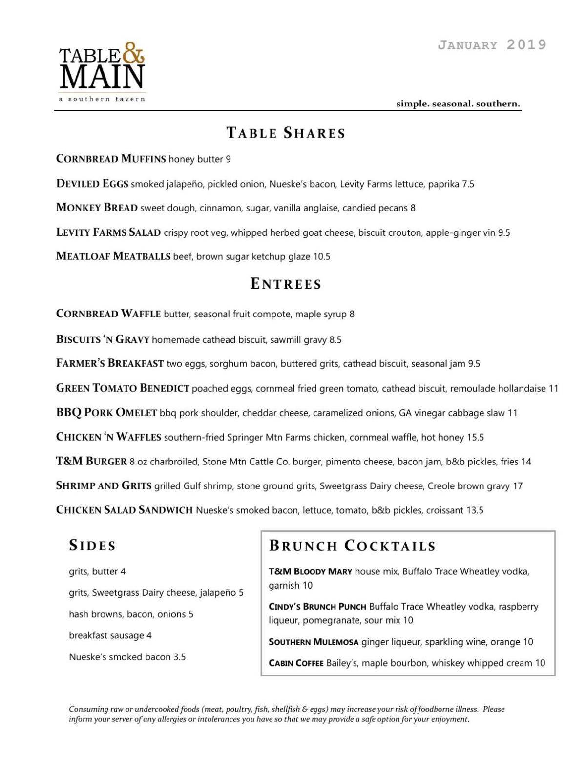 Table & Main Brunch Menu