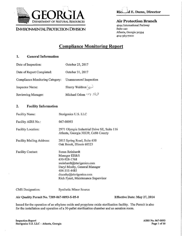 Georgia EPD Sterigenics Inspection Report