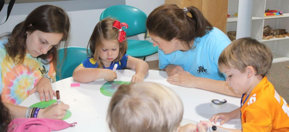 073119_MNS_life_full_St_Annes_VBS_002 Margaret Grosvenor Katherine Mitchell with campers