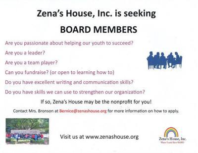 Zena's House board flyer