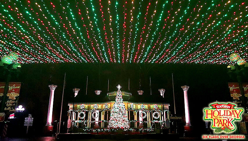 six flags over georgia is attempting to break a world record for christmas tree ornaments at the park today and to celebrate participants will be able to