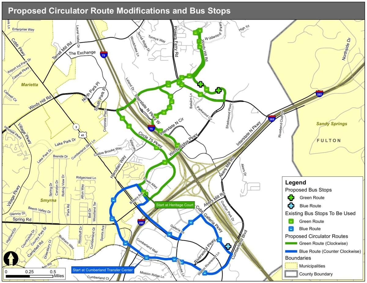 Proposed CobbLinc berland Circulator route change map | News ... on