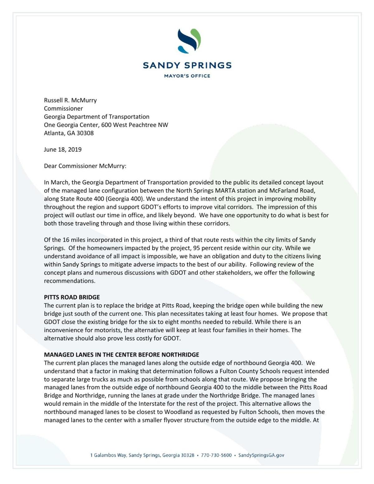 John Paulson's letter to GDOT's Russell McMurry