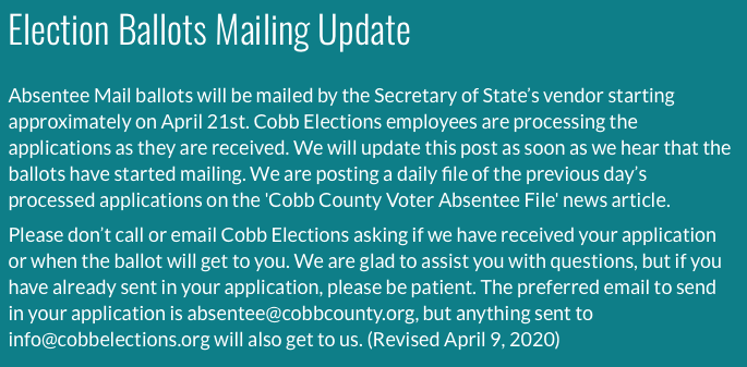 Absentee Info from Cobb Elections website