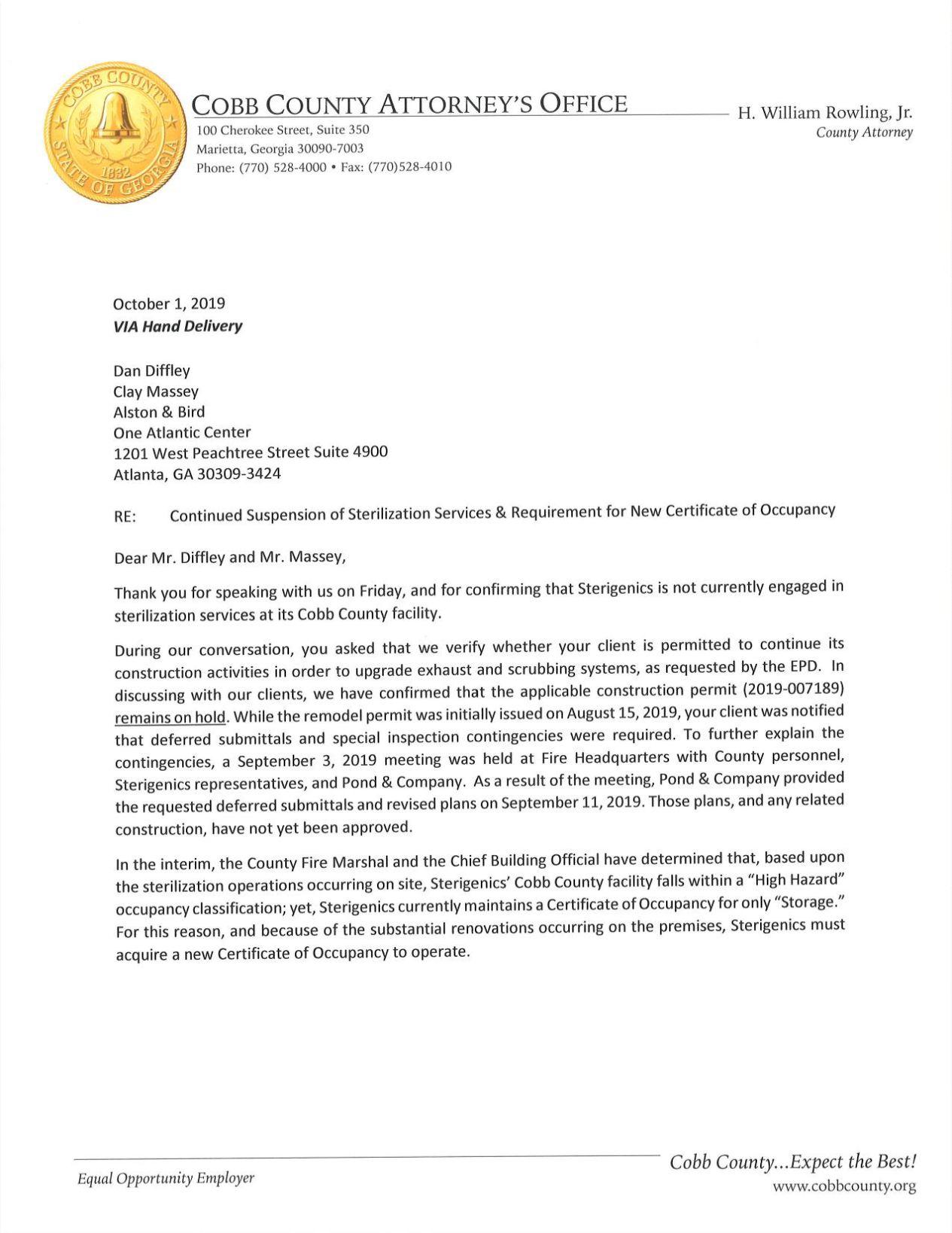 Cobb Oct. 1 letter to Sterigenics