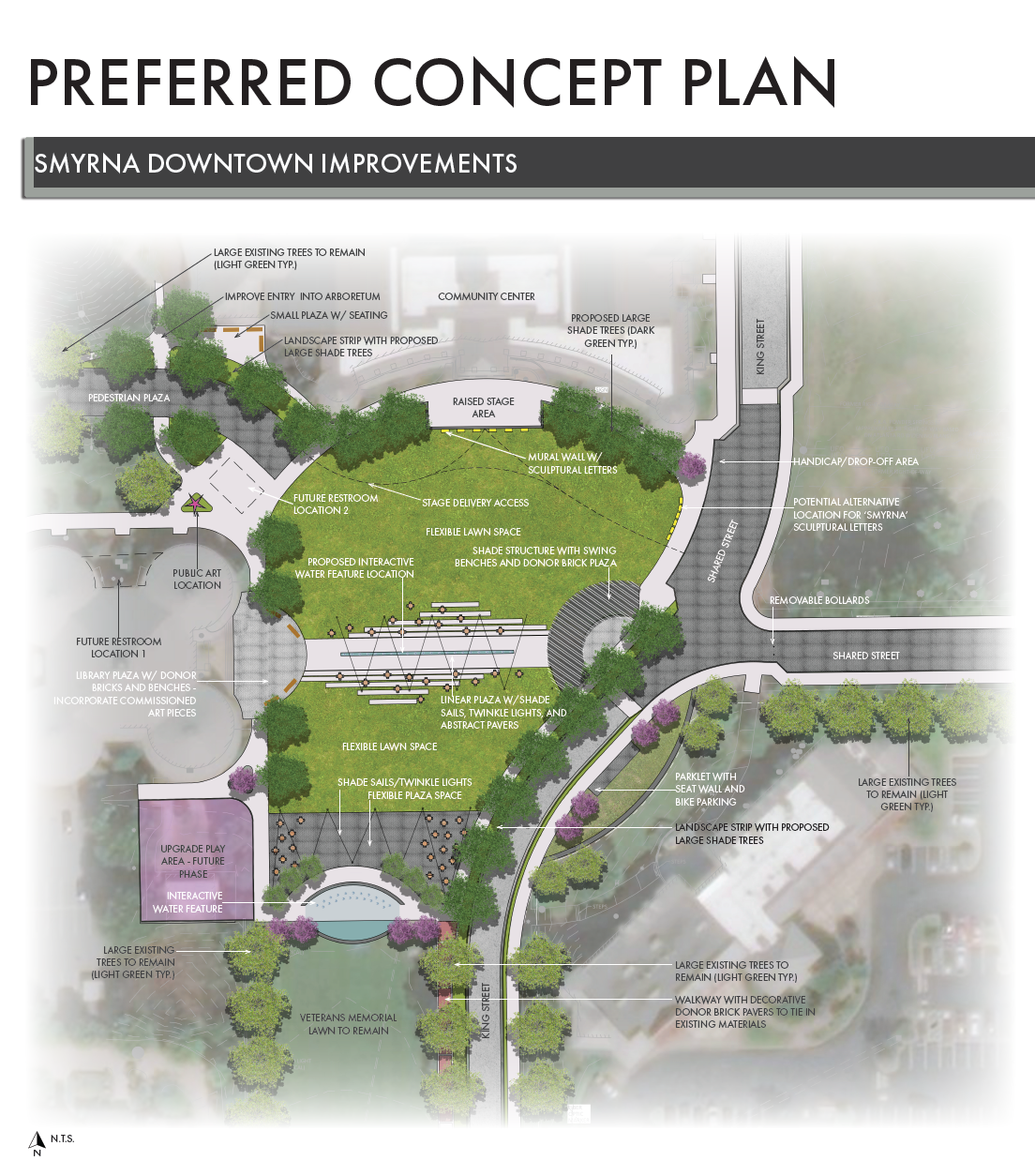 Smyrna downtown redesign updated concept plan Oct 2021