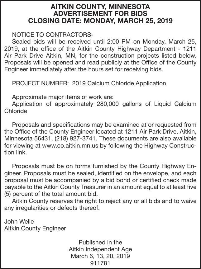 Calcium Chloride Application BIDS