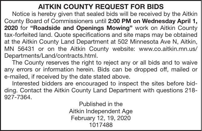Roadside and Opening Mowing BIDS