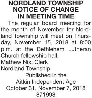 Change Meeting Time Nov. 15