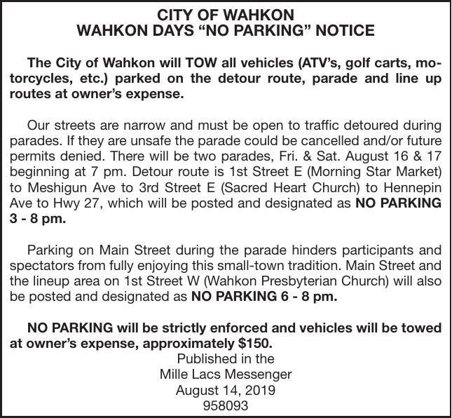 Wahkon Days No Parking Notice