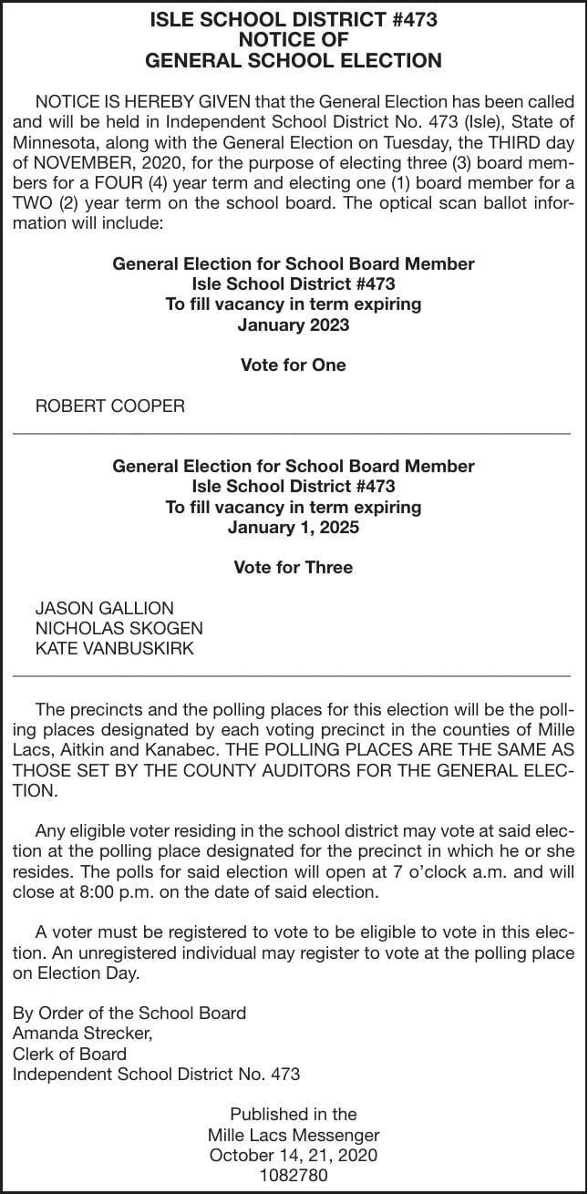 Nov 3 General school election