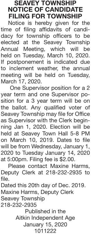 Notice of Candidate Filing