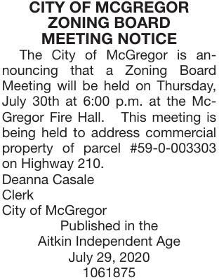 July 30 Zoning Board Meeting