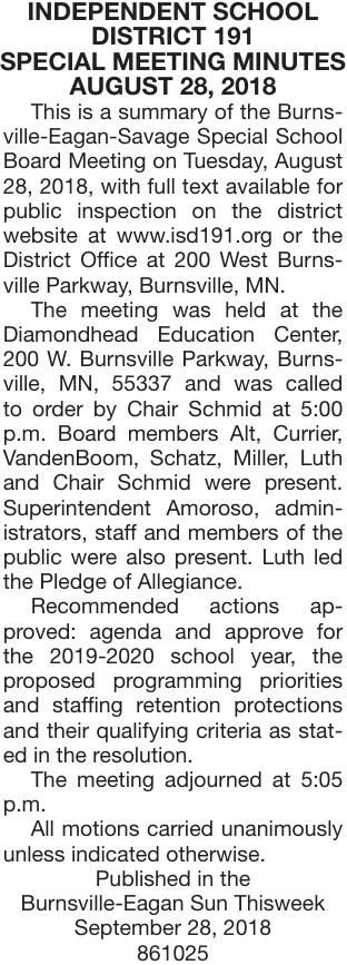 August 28 Special Mtg Minutes
