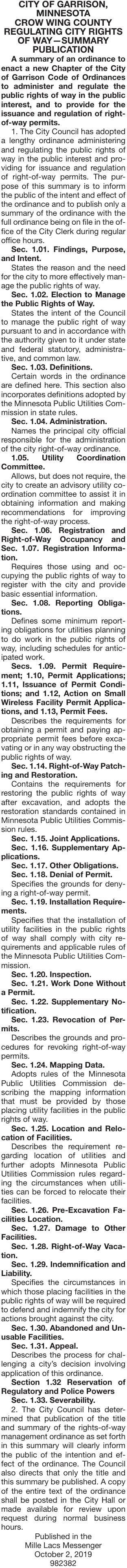 Regulating Rights of Ways