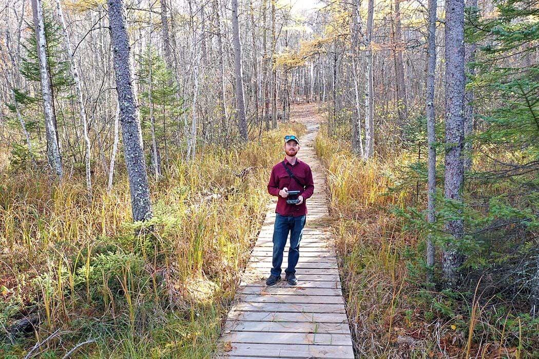 "On a bog walk, Kyle Fredrickson captures a ""selfie"" with a drone"