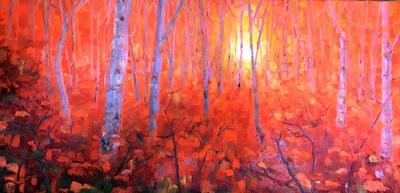 Chip  Borkenhagen shows artwork