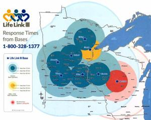 The map depicts Life Link III response times from its bases.
