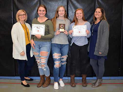 McGregor cheerleaders received letters and awards at the fall banquet