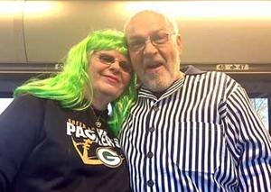 Joy and Carroll on their way to a Packer/Viking game.