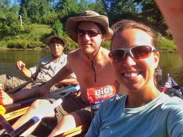 Mark Fox, Bart Lindberg and Abby Kaeser along the river.