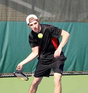 David Curtiss teamed with Nathan Hagestuen to defeat their Mora opponents last Thursday.