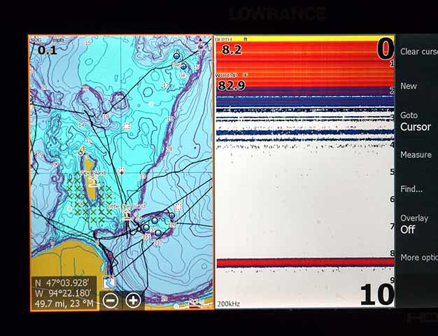 Split screen basic sonar and GPS.