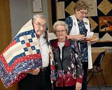 Richard was draped in a Quilts of Valor ceremony in October 2019.