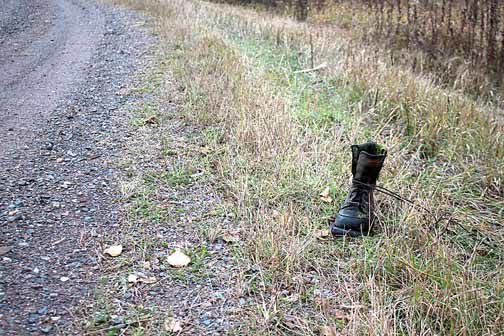 The fate of this boot's last owner is unknown. Foul play by aliens and sasquatch are possibilities.