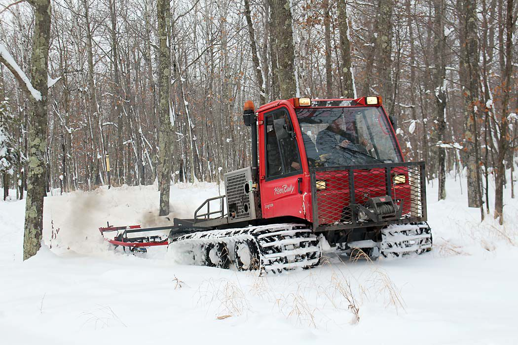 LLCC's trail groomer readies the trails for skiing and snowshoeing.
