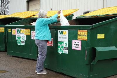 Kathy Pearson drops off recycling.