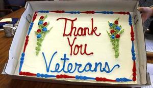 Aitkin County veteran employees were invited to the Nov. 14 meeting for cake and coffee to honor them for their service to the country.