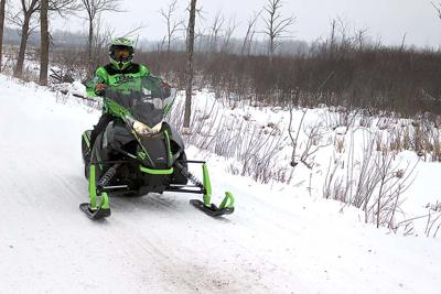 A snowmobiler on the Soo Line Trail last winter.