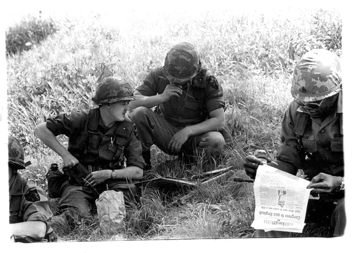 Dave with fellow soldiers in the field in Korea. To the right is the battalion XO.