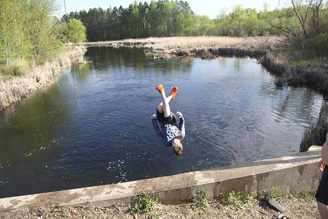 Kids diving into Rum River cause concern.