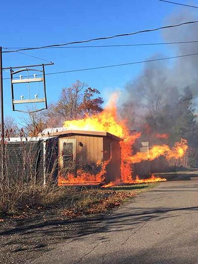 Fish house fire