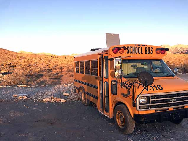 """The bus used for Ashley Hanson's road trips, named """"Gus."""""""