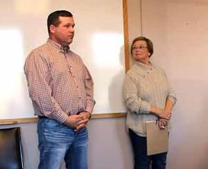 Fair Foundation President Lance Baumann and Linda Weimer gave an update on the horse barn progress and fundraising during the March 13 Aitkin County Board of Commissioners meeting.