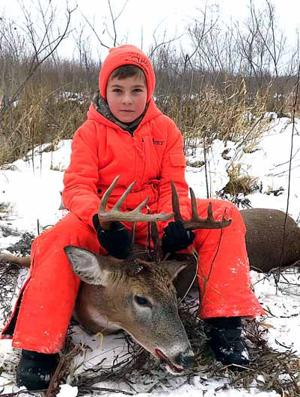 In Tyler Boyd's first year hunting, he shot this 10-point buck opening day.