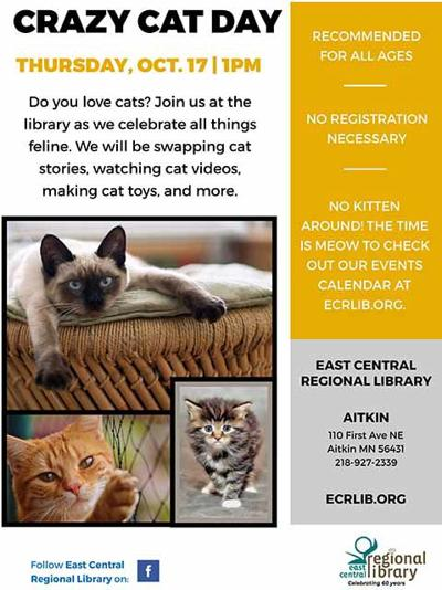 Crazy Cat Day at Aitkin Public Library, Oct. 17