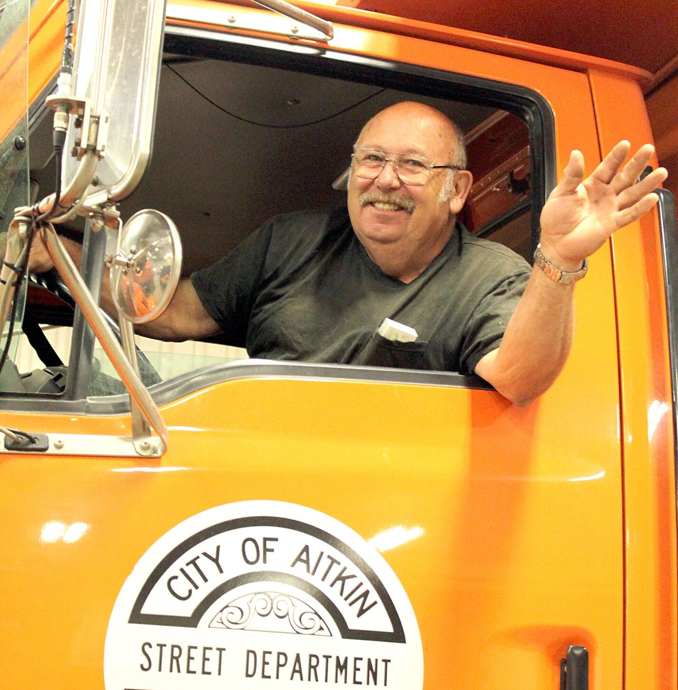 Bob Nicko sits in the city plow truck for the last time.